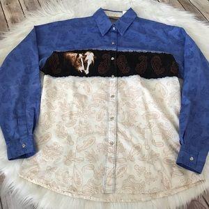 Retro style Wrangler pearl snap western shirt